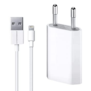 ultrapower100® Cargador de batería compatible con iPhone 1A 5 W 1400 + Cable 100% 1 metro blanco compatible iPhone 5 5 C 5S 6 SE 6S 7 8 X XR XS XS MAX