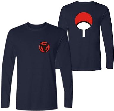 Memoryee Camiseta para Hombre Anime japonés Naruto la Familia Uchiha Sharingan Estampado Redondo Camiseta de Manga Larga de Verano Top: Amazon.es: Ropa y accesorios
