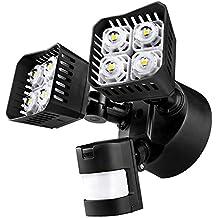 Upgraded SANSI LED Security Motion Sensor Outdoor Lights, 30W (250W Incandescent Equivalent) 3400lm, 5000K Daylight, Waterproof Floodlight, Black