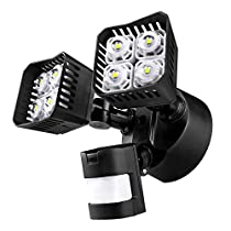 SANSI LED Security Motion Sensor Outdoor Light, 30W (250W Incandescent Equivalent) 3400lm, 5000K Daylight, Waterproof Floodlight, ETL Listed, Black