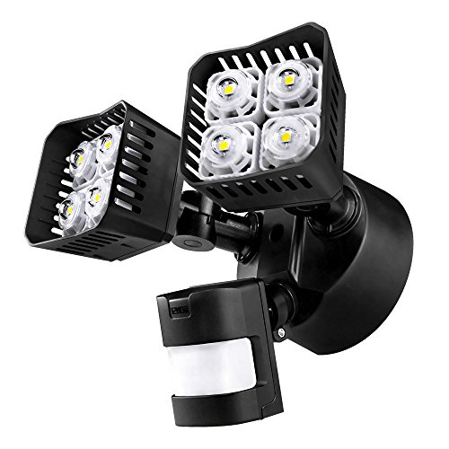 Upgraded SANSI LED Security Motion Sensor Outdoor Lights, 30W (250W Incandescent Equivalent) 3400lm, 5000K Daylight, Waterproof Floodlight, Black (Floodlight Daylight)