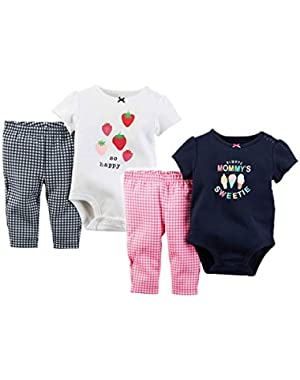Baby Girls Cotton Layette Bodysuit Leggings Outfit 2 Pack Bundle Gift Set