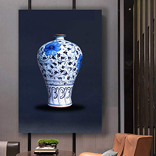 Blue and White Porcelain China Vase Painting Wall Bedroom Living House