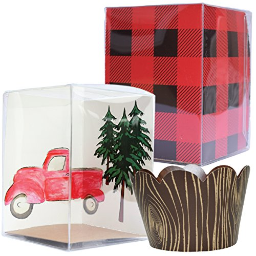Camping Party Supplies, Wood Grain Cupcake Wrappers and Individual Cupcake Boxes, Lumberjack Theme Inserts Buffalo Plaid Flannel, Vintage Red Truck, Confetti Couture, Set of 12 Containers