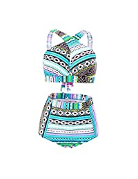 Haicoo High Waisted Floral Bikini Front Cross Tribal Ladies Plus Size Swimwear