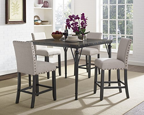 Roundhill Furniture PT163-PC162TA-PC162TA Biony 5-Piece Espresso Wood Counter Height Dining Set with Tan Fabric Nail Head Chairs