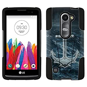 LG Leon Hybrid Case Rough Water Anchor 2 Piece Style Silicone Case Cover with Stand for LG Leon