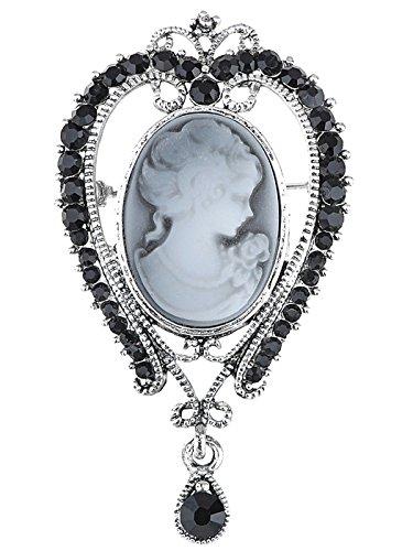 - Alilang Silvery Tone Black Rhinestones Victorian Grey Cameo Lady Woman Brooch Pin