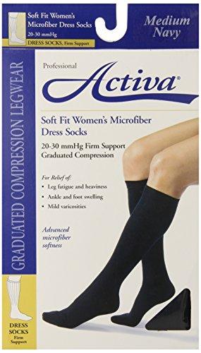 Activa 20-30 mmHg Soft Fit Knee High Socks, Navy, Medium