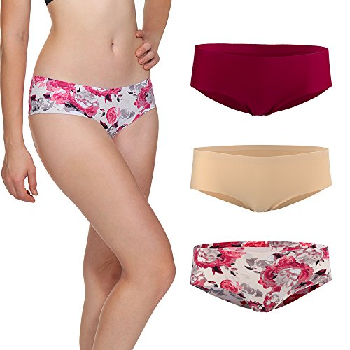 LastFor1 Women's Invisible Seamless Underwear Comfort Panty Briefs Pack of 3 (S, Wine Red,Skin,Floral-print)