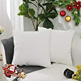 HOME BRILLIANT 2 Pack Ultra Soft Velvet Solid Decorative Toss Throw Pillow Cover for Couch/Bed/Chair, 18x18 inches(45x45cm), White