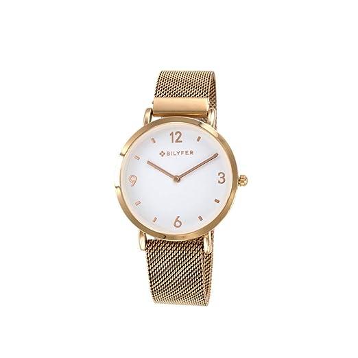 Reloj Bilyfer para Mujer con Correa en Bronce y Pantalla en Blanco 3P5556-R: Amazon.es: Relojes