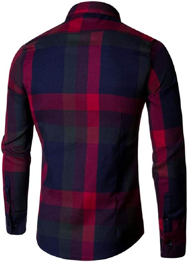 Cromoncent Mens Long Sleeve Casual Corduroy Plaid Tops Button Down Shirts
