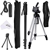 Neewer Photo Monopod & Tripod Bundle Kit: (1)Adjustable Monopod + (1)Tripod Stand + (1)Shutter Release Remote Control Replacement for Canon RS-60E3 + (1)Adjustable Mini Tripod + (1)Cleaning Cloth
