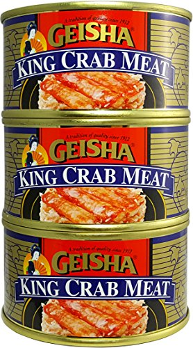 King Crab Meat, Wild Caught (Pack of 3), 5.8 oz Can - Geisha