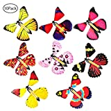 Flying Butterfly, leegoal 10 Pcs Classic Wind Up Butterfly Toy, Magic Butterfly Surprise Gift Card for Birthday Anniversary Wedding Card Gift Toys