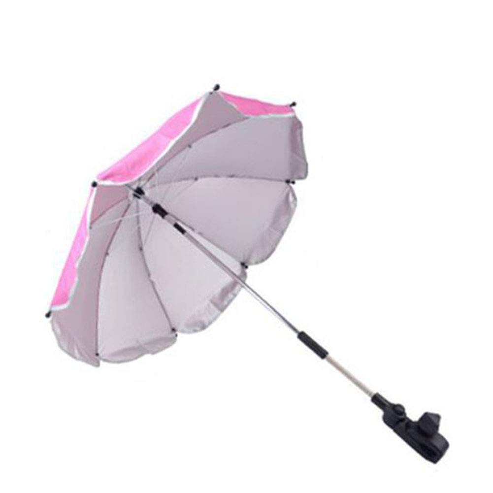 Umbrella Baby Wheelchair 25.6'' Universal Flexible Baby Parasol for Any Pram Baby Stroller Canopy Sun Rain UV Protection Sunshade,Rosered