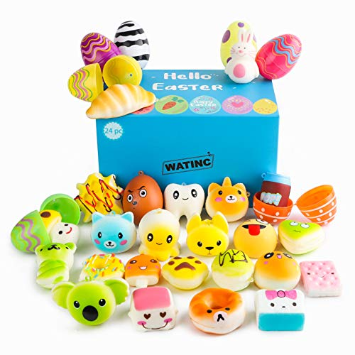 WATINC Random 24 Pcs Easter Eggs Filled with Kawaii Squishy Colorful Simulation...