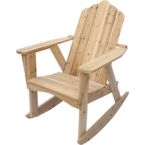 Unfinished Rocking Chairs - Stonegate Designs Wooden Adirondack Rocking Chair - Unfinished