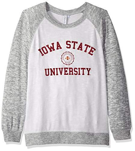 chicka-d NCAA Officially Licensed Iowa State University Ladies Cozy Crewneck Lightweight Sweatshirt/Sweater- ISU Cyclones Women's Apparel (Iowa State Pocket)