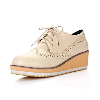 Fashion Vintage Womens Wedge Heel Platform Oxford Shoes