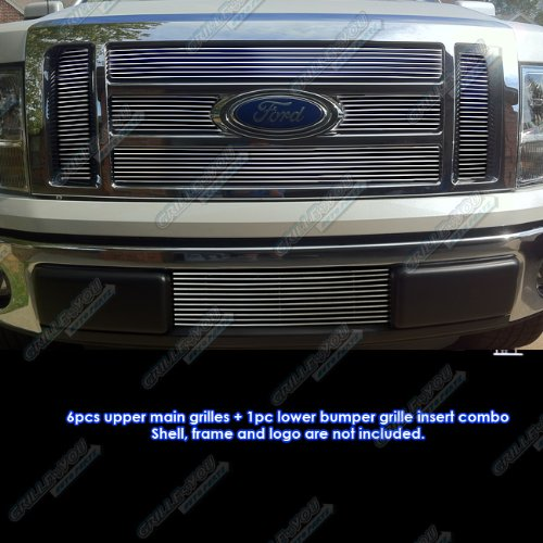 (APS Compatible 09-2012 2011 Ford F-150 Lariat/King Ranch Billet Grille Grill Combo Insert #)