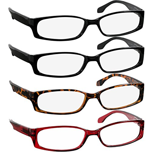 Reading Glasses 2.50 2 Black Tortoise Red (4 Pack) F503 - Lay Readers