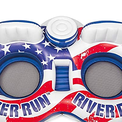 Intex American Flag 2 Person Float w/ River Run 53 Inch Tube, Red (2 Pack): Toys & Games