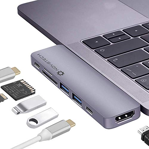 NOV8Tech 7-in-2 Aluminum USB-C Hub for MacBook Pro 2019-16 and MacBook Air 2019-18, 4K HDMI, 2xUSB 3.0, USB 3.1 C 5GBps, Thunderbolt 3 100W PD Charger and 40GBps Data, SD/Micro SD Card Reader 7-in-1 (Best Usb 3 Hub 2019)