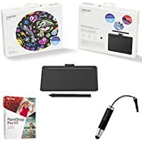 Wacom Intuos Creative Pen Tablet Small, Black Bundle includes Tablet, Corel Paint Shop Pro X9 Digital Download Card and Wacom Bamboo Stylus Mini (Intuos Small)