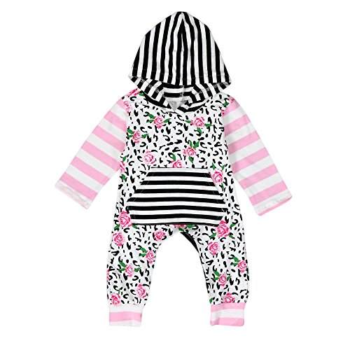 Floral Leopard - Buedvo Boys Girls Christmas Kids Leopard Floral Print Hoodie long Sleeve One Piece Pajama (0-6Months, Pink)