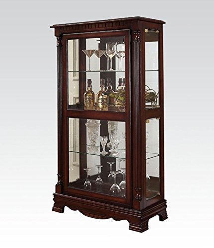 ACME Carrie Cherry Curio Cabinet with 4 Side (Cherry Glass China Cabinet)