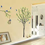 Slendima Green Tree Leaves with Birds Cage Wall Sticker Home Art Decal Kids Room Decoration - 60x90 cm