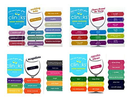 Clingks 48 Drink Markers - Humorous Wedding Themed Set - Fun Alternative to Wine Charms