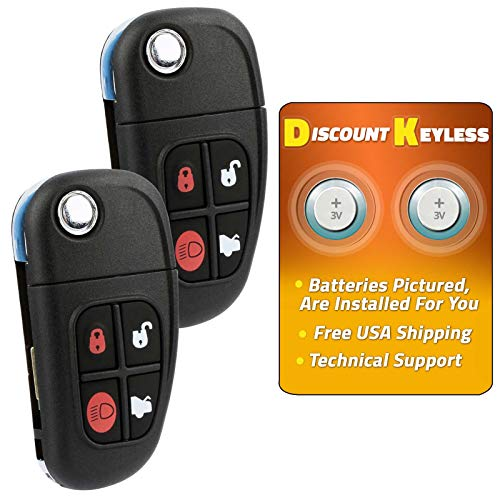 (Discount Keyless Remote Entry Replacement Uncut Flip Key Fob For Jaguar XJ8 S-Type X-Type NHVWB1U241 (2 Pack))