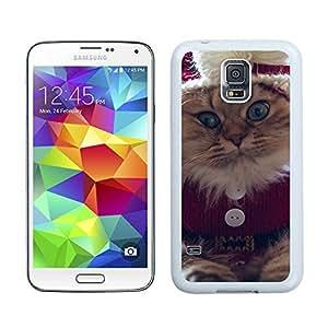 Customized Portfolio Christmas Naughty Cat Samsung Galaxy S5 White Silicone Case,Samsung I9600 Phone Case