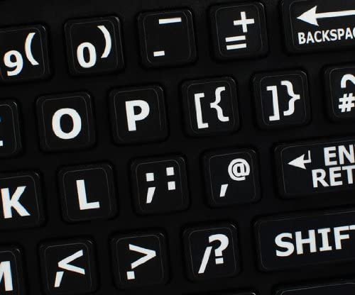 ENGLISH UK LARGE LETTERING KEYBOARD STICKERS UPPER CASE BLACK BACKGROUND