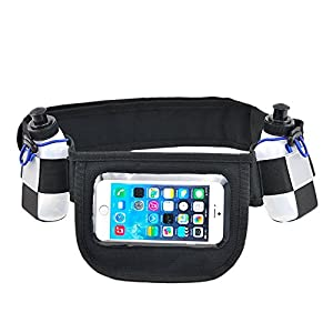 Free Runner presents: Hydration running belt with 2 water bottles, Running belt fits - Iphone 6/6 plus, Running water belt with Touchscreen