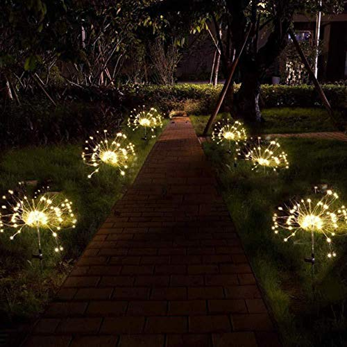 Honche Solar Christmas Firework Garden Lights Outdoor Decorative Waterproof Warm Cross Lighting String