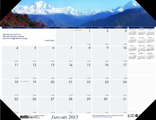 House of Doolittle 176 Mountains of the World Photographic Monthly Desk Pad Calendar, 22 x 17, (Photographic Desk Pad Calendar)