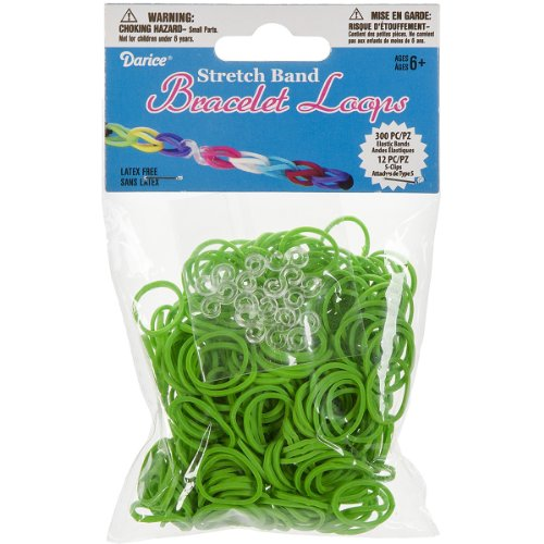 Darice 312-Piece Stretch Band Bracelet Loops and S-Clips Set, Green -