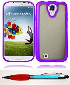 Accessory Factory(TM) Bundle (the item, 2in1 Stylus Point Pen) For Samsung Galaxy S4 i9500 PC+ TPU Cover Case - Clear+Purple