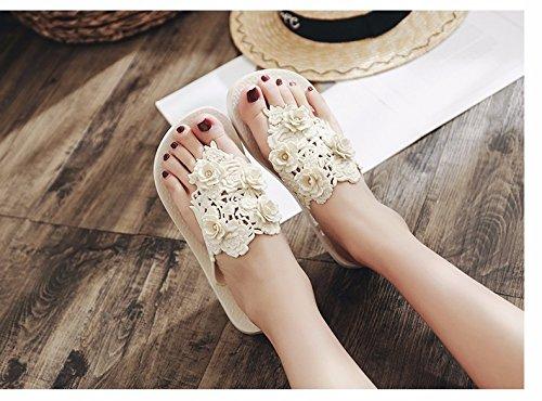 fondo New suola pantofole Cool White Foot XIAOGEGE Beach Style antiscivolo moda Lady estate femminile con clip a infradito dnzwq4