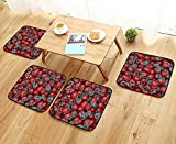 Leighhome Modern Chair Cushions College Football Helmets Headgear Competition Defense Sportsman Image Pattern Red Convenient Safety and Hygiene W23.5 x L23.5/4PCS Set