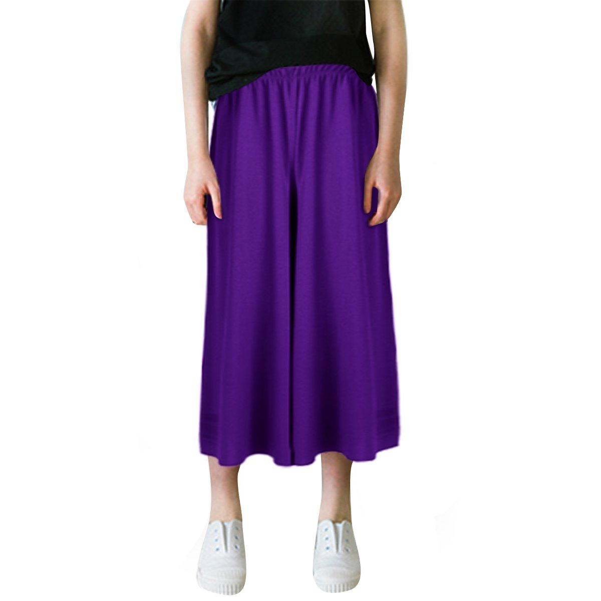 TiaoBug Kids Girls Loose Wide Leg Palazzo Pants Straight Pants Casual Trousers Purple 10-12