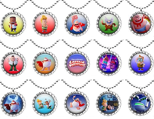 15 CAPTAIN UNDERPANTS - The first Epic Movie - Flat Bottle Cap Necklaces for Birthday, Party Favors, Bag Fillers