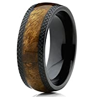 Dome Black Titanium Wedding Band Ring with Real Marble Brown Wood Inlay, Comfort Fit 8mm