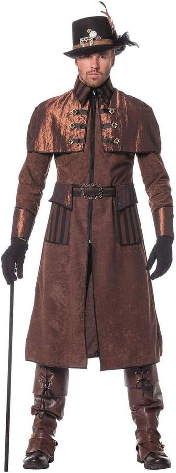 TALLA 48. shoperama Steam Punk Hombre Abrigo marrón/Negro Disfraz Chaqueta Estilo Victoriano, Industrial de Gran Calidad marrón marrón/Negro 48