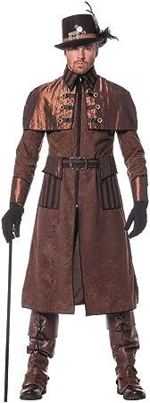 shoperama Steam Punk Hombre Abrigo marrón/Negro Disfraz ...