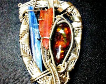 Blue Kyanite, Brazilian Tourmaline, Fire Agate Cabochon Sterling Silver Wire Wrapped (Rare Fire Agate Pendant)